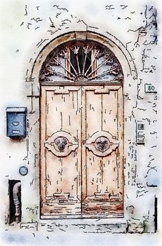 Printable Art, Instant Download, DIY Print At Home, Art Print, Watercolor, Tuscany, Italy, Old Door, Ocher, Blue, by edeblas on Etsy