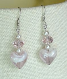 Pink & white heart earrings - to match necklace