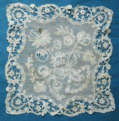 Small antique/vintage Brussels lace mat/square
