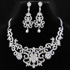 Clear AB Swarovski Crystal Bridal Necklace Wedding by Annamall, $38.99
