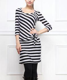 Black & White Stripe Twist-Knot Dress | zulily