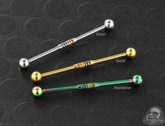 Striped Rainbow Industrial Barbell – piercings, You can collect images you discovered organize them, add your own ideas to your collections and share with other people. Double Tongue Piercing, Double Cartilage Piercing, Barbell Piercing, Cute Ear Piercings, Multiple Ear Piercings, Body Piercings, Septum, Tongue Piercings, Tragus
