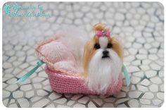 Shih-Tzu/OOAK miniature felt dog/Needle felt