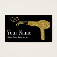 Shop Gold Glitter Hairdresser Salon Black Business Card created by NeatBusinessCards. Beauty Business Cards, Salon Business Cards, Hairstylist Business Cards, Makeup Artist Business Cards, Black Business Card, Simple Business Cards, Custom Business Cards, Business Card Design, Hairstylist Quotes