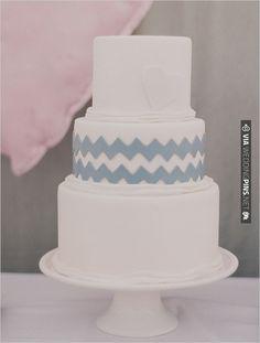 chevron gray wedding cake, Elizabeth Messina   VIA #WEDDINGPINS.NET