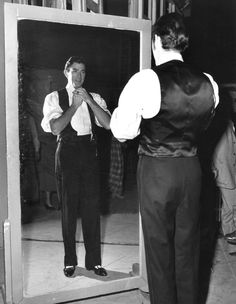 """Gregory Peck on the set of """"The Great Sinner"""" (1949)"""