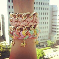 Fancy - Pastel Stars Chain Bracelet by TwoStrangeP