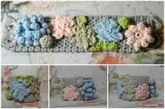 Crochet Cuff, Romantic Flower Cuff, Blooming Flower Cotton Bracelet with Vintage Glass Buttons