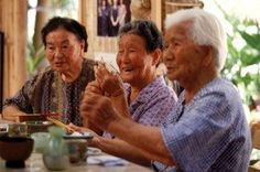Here, in Okinawa, Japan a 'Moai' gets together for an afternoon of tea and laughs. Socializing with good friends daily is very important for your health and well-being.