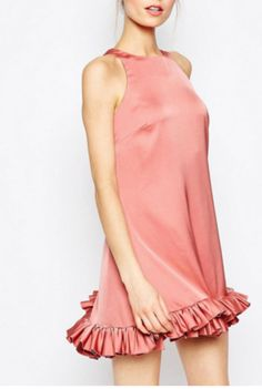 Party dresses > Gathered Halter Shift Dress In Light Pink ...