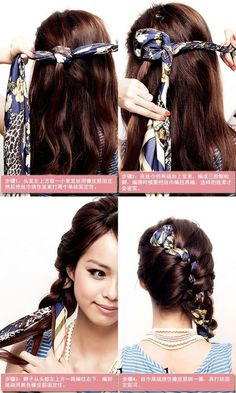 How to DIY Braid Hairstyle with Long Scarf