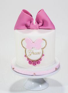 A Whipped Bakeshop custom Minnie Mouse cake for grace! Baby Mickey Mouse Cake, Mini Mouse Cake, Minnie Mouse Birthday Cakes, Mickey Cakes, Mickey Birthday, 1st Birthday Cake For Girls, Girl Birthday Decorations, Baby Birthday Cakes, Cake Baby