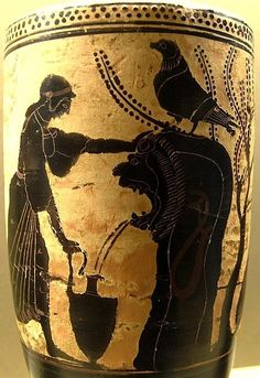 Attic lekythos,  Louvre,  480 BC,  Polyxena at the fountain,  Achilles waits in ambush