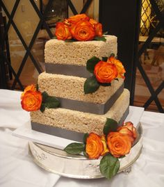 Rice Crispie Wedding Cake, this is FRICKEN AWESOME!!!!! Not for a wedding but I want one for my birthday so bad! lol