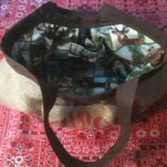 Inside of reversible burlap purse