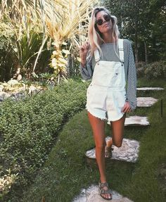 black and white stripe long sleeve tee, white cut off overall shorts, gray Birkenstock sandals. girly, preppy, casual, school, college, hangout, spring or summer outfit.