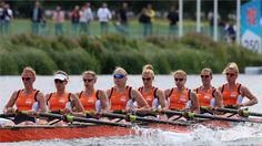 The Netherlands compete in Heat 1 of the women's Eight on Day 2 at Eton Dorney.