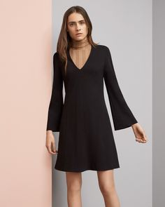 LOOK 15 Black Simone stretch crepe matte jersey dress Camel sleeveless cashmere silk turtleneck