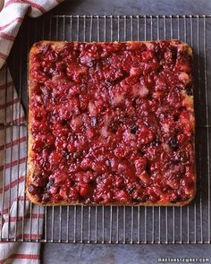 To make this fun interpretation of the old-fashioned upside-down cake, fresh cranberries and toasted pecans are topped with buttery batter, then baked and inverted. The cranberries soften in the oven while the pecans keep their crunch, providing a delightful contrast in textures.