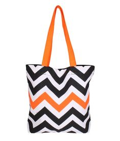 Be For Bag Zigzag Design Tote Bag - Black Black Tote Bag, Zig Zag, Diaper Bag, Handbags, Orange, Stuff To Buy, Shopping, Design, Women