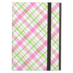 Pink and Lime Green Plaid iPad Case