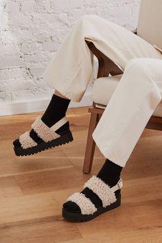 7a3bf55c727d Lexi Faux Sherpa Flatform Sandal