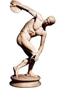 No discóbolo de Myron, um ideal olímpico da Grécia Antiga: o corpo nu é mais ágil, forte e próximo dos deuses.