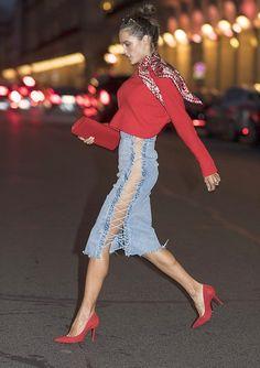 lace-up denim skirts