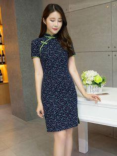 Gentle Blue Floral Qipao / Cheongsam Dress in Linen