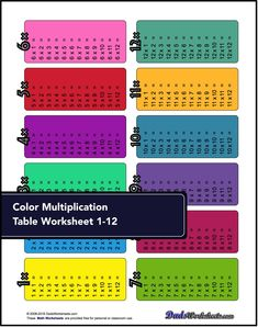 Looking for a way to learn the multiplication facts the easy way? Check these cool Multiplication Tables! There are table variations with and without answers, so you can use these as a study tool or as multiplication table worksheets. Multi Digit Multiplication, Multiplication Worksheets, Multiplication Tables, Times Tables, Periodic Table, Learning, Study, Check, Easy