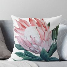 King Protea Flower Painting Throw Pillow