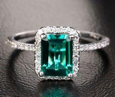 2-33ct-Emerald-9-18K-White-Gold-Pave-23ct-Diamond-Halo-Engagement-Wedding-Ring