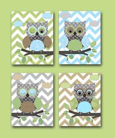 Owls Nursery Baby Boy Nursery Art Nursery wall art by artbynataera, $80.00