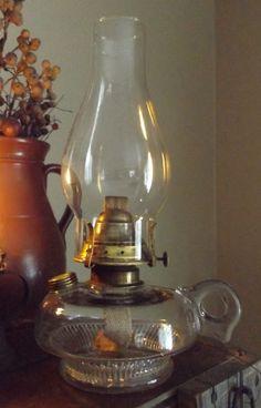 Antique Maine Farm Finger Oil Lamp W Brass Filler Cover E Miller Co USA    EBay