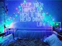 A Day To Remember Quote :) this is perfect for my room! Love the colored lights too!