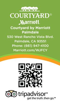 Back view of custom #TripAdvisor cards created for the #Courtyard by Marriott in #Palmdale, CA by #ATH Marketing. www.athmarketing.com