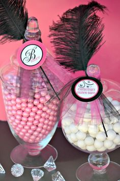 Candy jars at a Bunco Party #bunco #partycandy