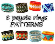 8 Peyote rings patterns Beaded rings par ColorfulBeadPatterns