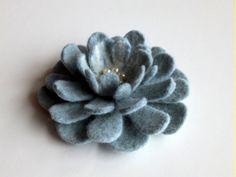 felted wool brooch Winter Flower.