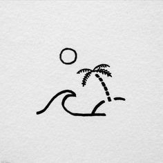 david rollyn keep it simple drawings, small drawings, art - simple beach drawing Cute Tattoos, Small Tattoos, Tatoos, Small Simple Tattoos, Beach Tattoos, Maori Tattoos, Doodle Drawings, Drawing Sketches, Drawing Ideas