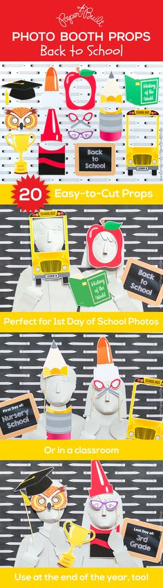 DIY Back to School photo booth props by Paper Built #backtoschool…