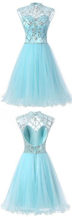 High Neck Homecoming Dresses, Beading Summer Dress, Open Back Party Gowns, Blue Prom Dresses, Cute Cocktail Dress Blue Homecoming Dresses, Open Back Prom Dresses, Prom Dresses 2018, Dresses Short, Evening Dresses, Bridesmaid Dresses, Summer Dresses, Formal Dresses, Pretty Dresses