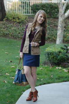cargo vest and pencil skirt - burgundy sweater, navy pencil skirt, brown booties