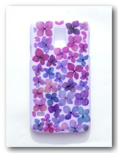 Handmade Samsung Galaxy S5 case, Resin with Dried Flowers, Mix Purple Hydrangea (1)