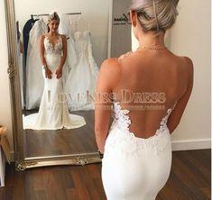 Simple Vestido De Noiva Sereia See Though Back Sexy Bridal Gowns Appliques Bodice Sheer Wedding Dresses Sweep Train Festa