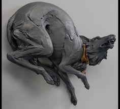 "Beth Cavener Stichter, ""Pleasure"", stoneware and leather belt, 30x33x17"", 2006"