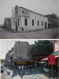 North western corner of Dixon St and Hay St, Haymarket. in 1910 it was Wests Tyre Setter, (Probably Horse+Cart Wheels),  Today it's the centre of the Chinese Restaurant Belt. [1910 City of Sydney Archives vs 2014 Google Streetview. By Steve Elliott]