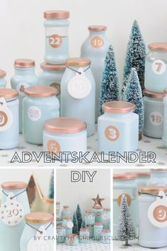 Adventskalender aus recycelten Marmeladengläsern ist ganz schnell gemacht und s… Advent calendar made of recycled jam jars is done very quickly and looks just perfect in this color combination. Winter Christmas, Christmas Time, Christmas Crafts, Xmas, Christmas Images, Advent Calenders, Diy Advent Calendar, Christmas Wonderland, Christmas Calendar