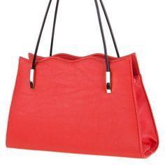 Rød elegant veske med lang stropp