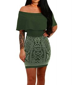 Sipaya Womens Sexy Rhinestone Package Hip One Shoulder Bodycon Dress Armygreen L ** You can get more details by clicking on the image.
